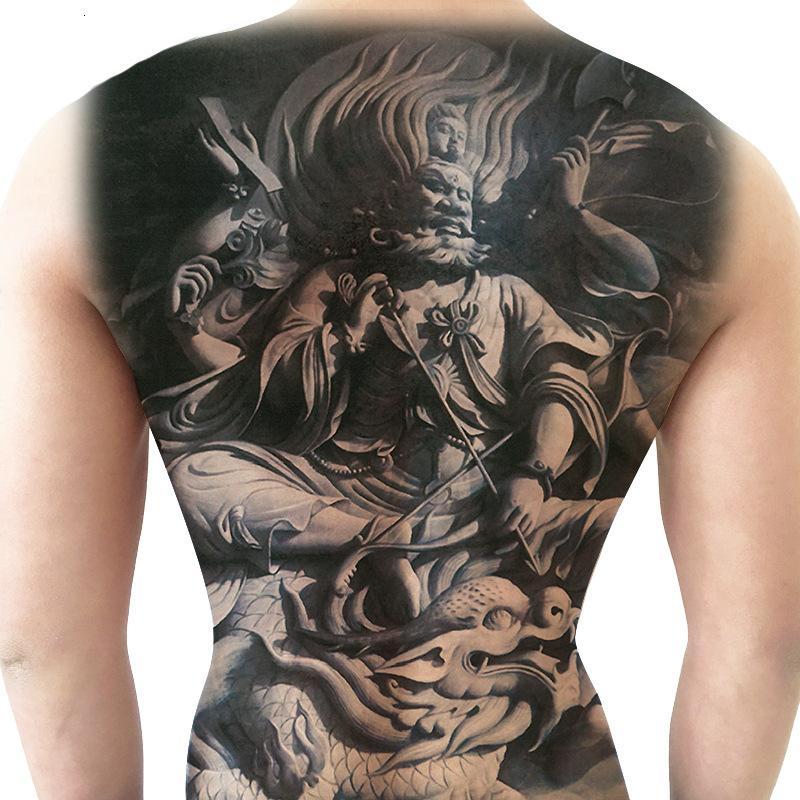 Three Sided Buddha Guanyin Tathagata Full Back Tattoo Sticker Waterproof Men and Women Lasting Simulation
