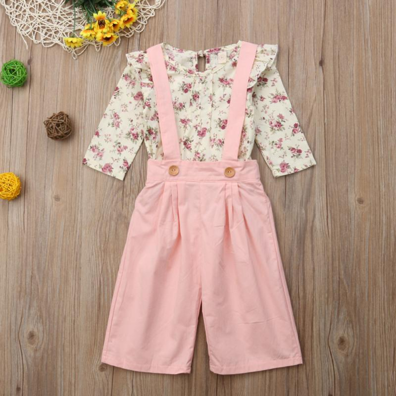Clothing Sets 2PCS Toddler Kids Baby Girl Auutmn Spring Clothes Floral Tops+Pants Overall Outfits Sweet Set