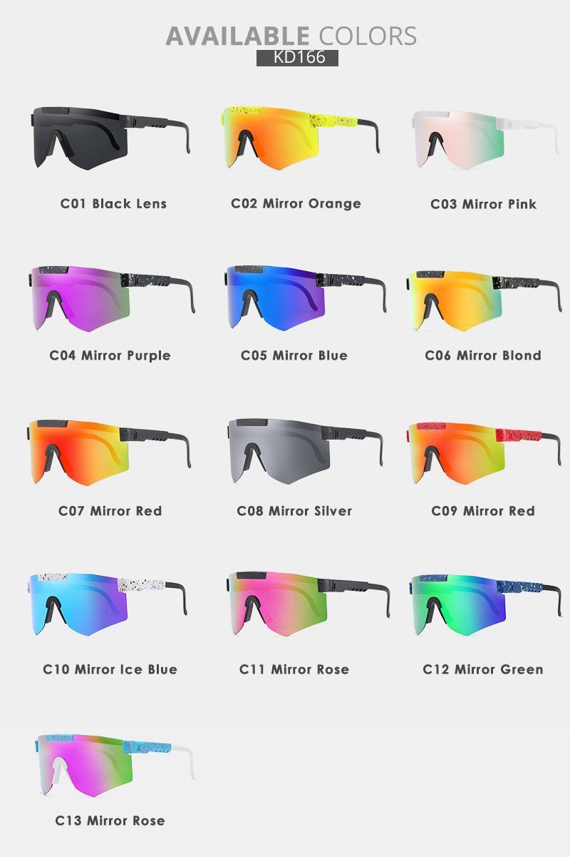 2021 Nuevas gafas de sol de alta calidad de alta calidad espejado polarizado lente rojo TR90 Frame UV400 Protection Men Sport Pit and Viper