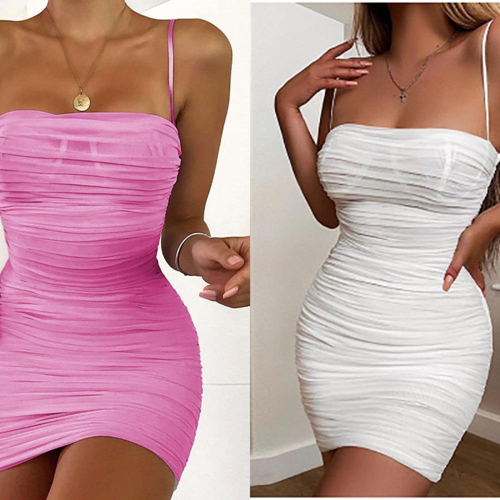Cinghie senza maniche crittografiche Sheer Mesh Hot Sexy Mini Abiti Party Night Club Backless Bodycon Dress Abito femminile C0220