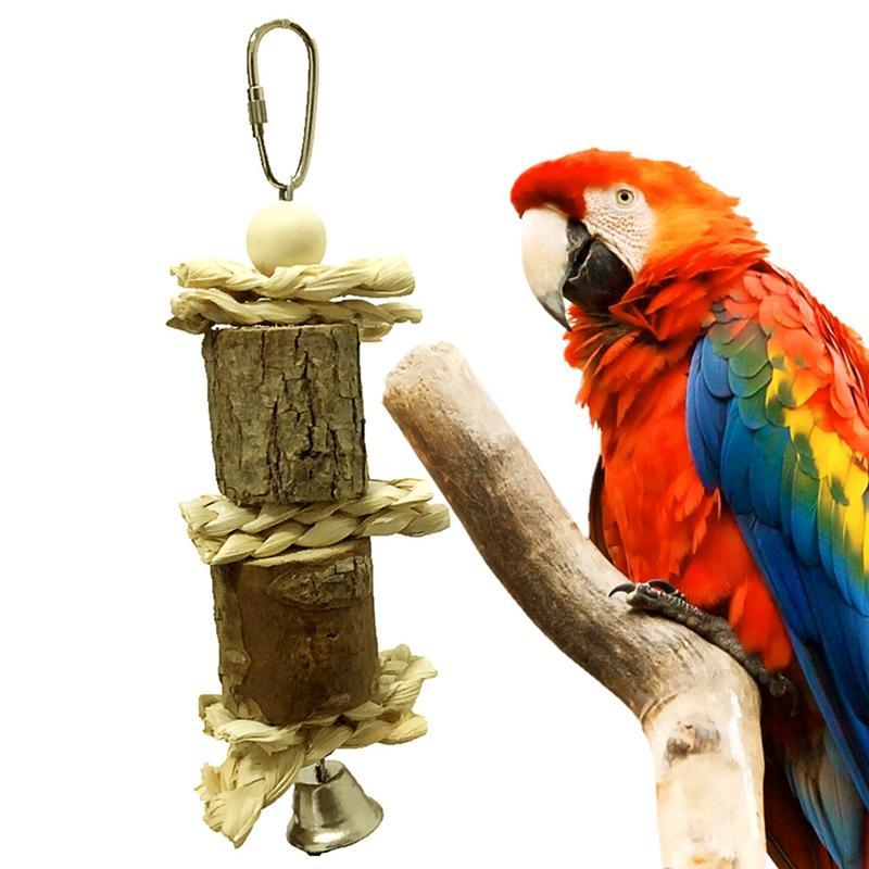 Other Bird Supplies Pet Parrot Chew Bite-proof Toy With Bell String Hanging For Original Wooden#