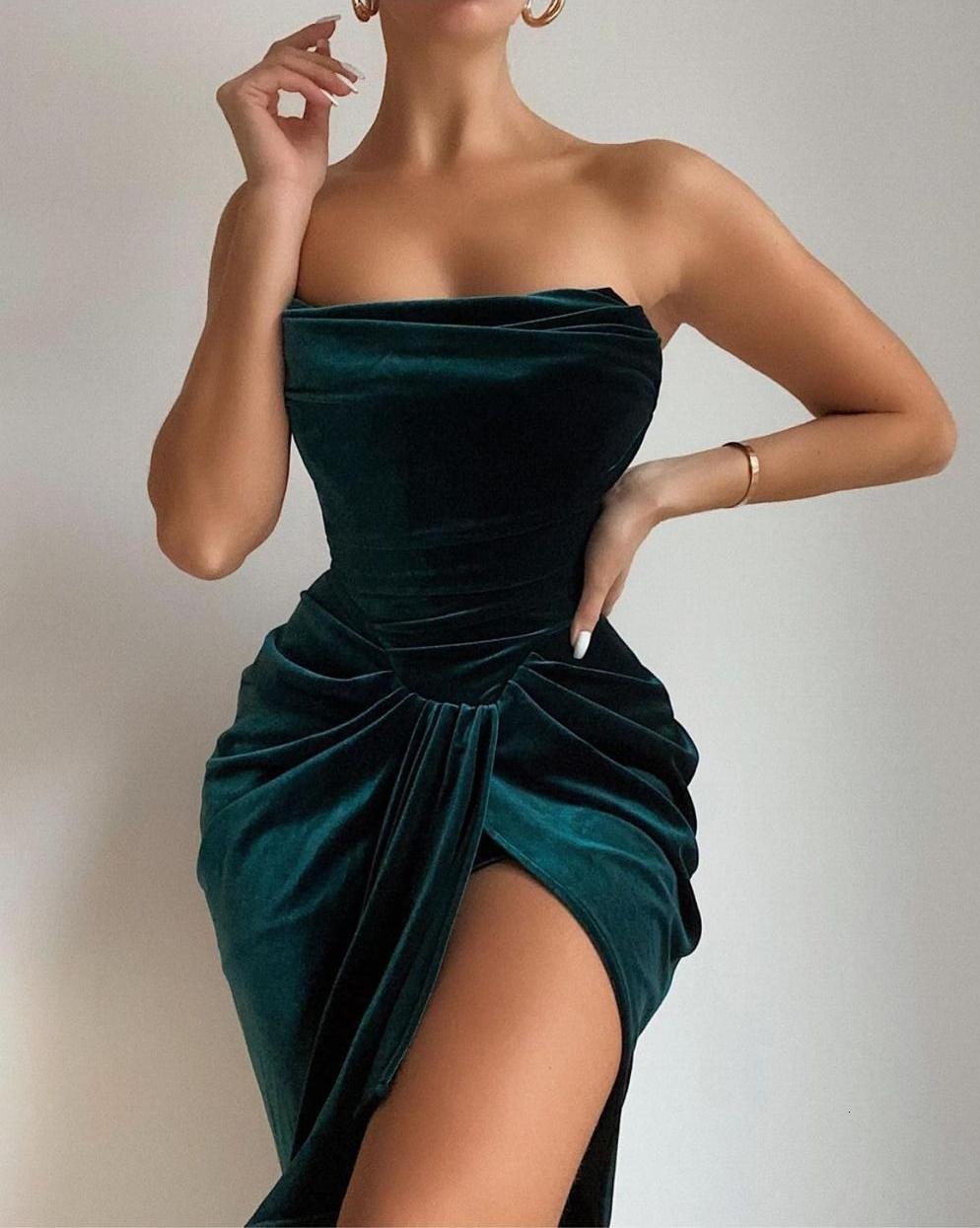 SWTAO Seksi Straplez Bölünmüş Yeşil Kadife Bodycon Kış 2021 Zarif Balo Kulübü Parti Elbise Adqy