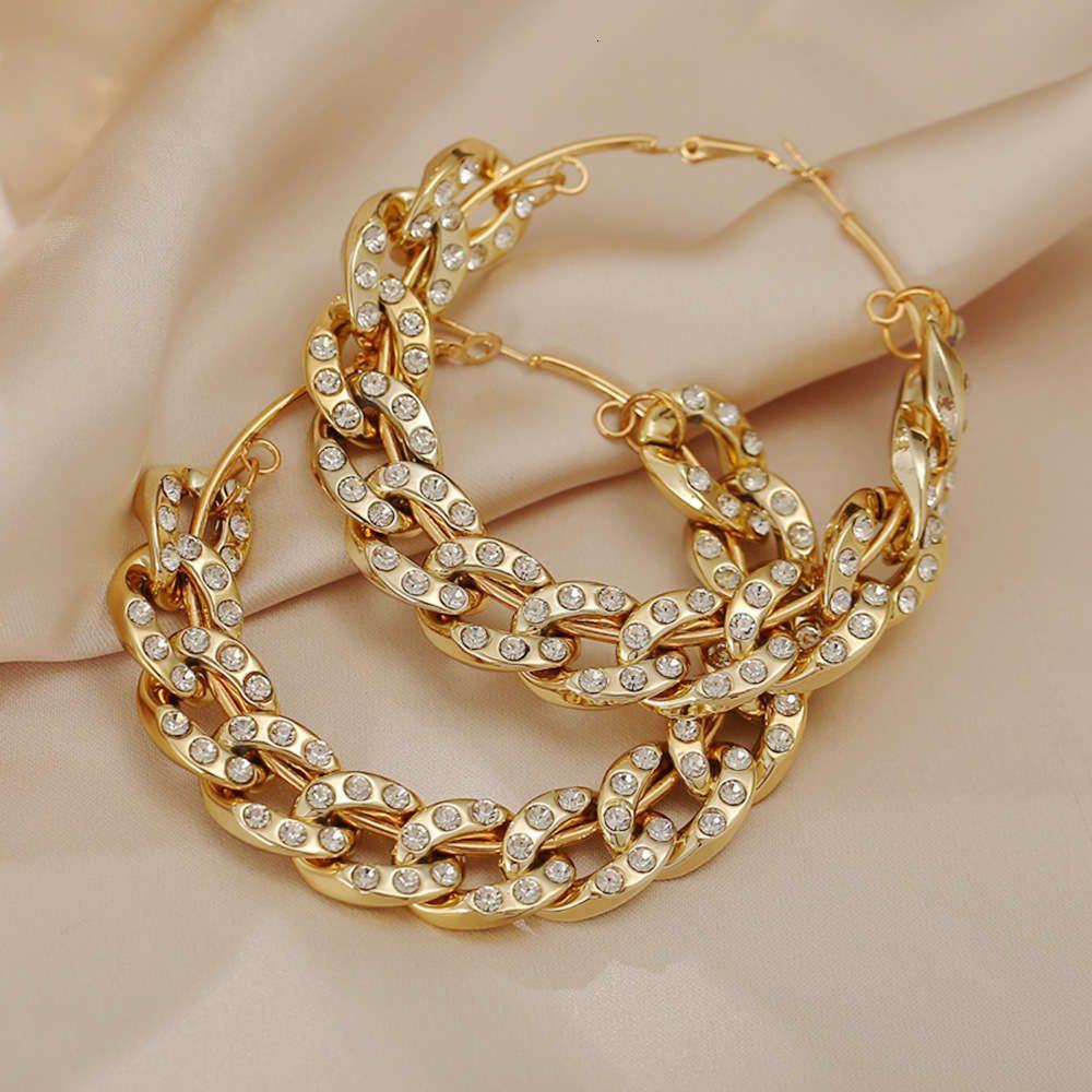 Style, tempérament, personnalité, exagération et créativité Gold Silver Party Chaîne épaisse avec boucles d'oreilles en diamant