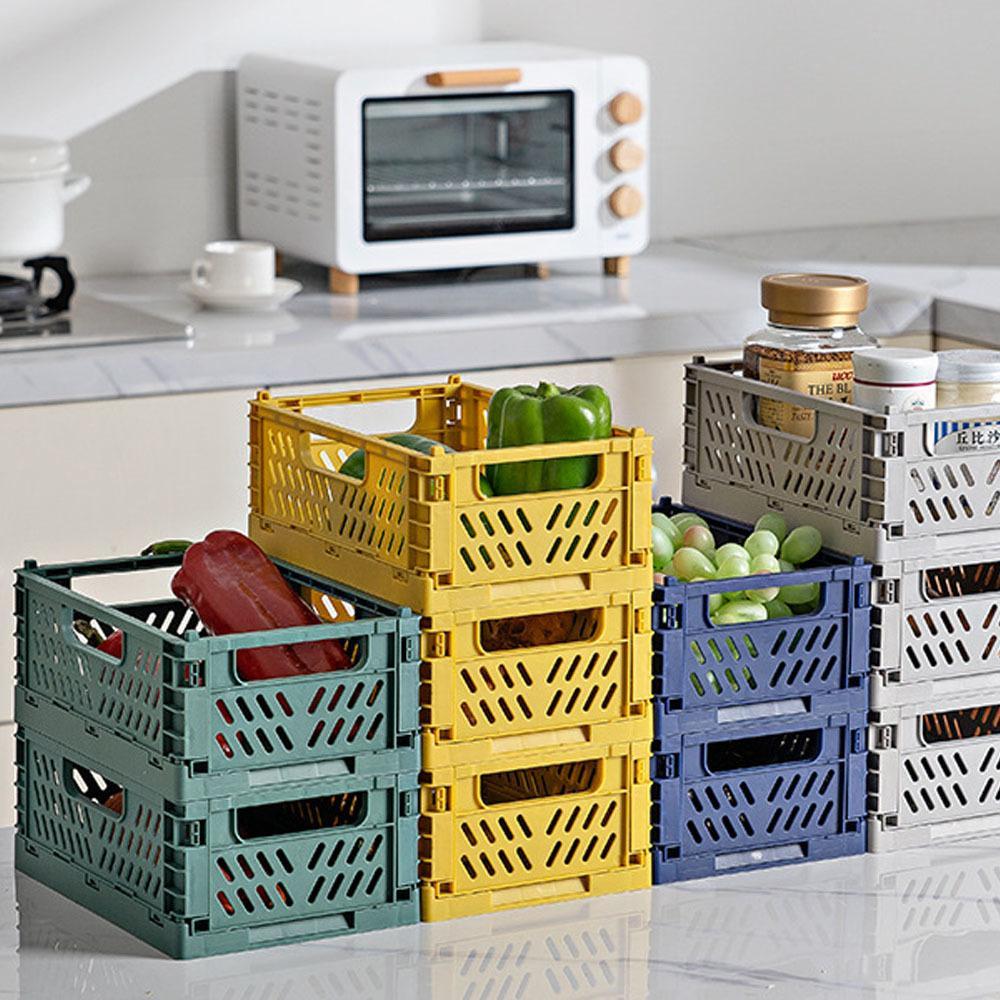 Boîte de rangement en plastique pliable pliante empilable Home Cuisine entrepôt de cuisine paniers de rangement boîte S l 210312