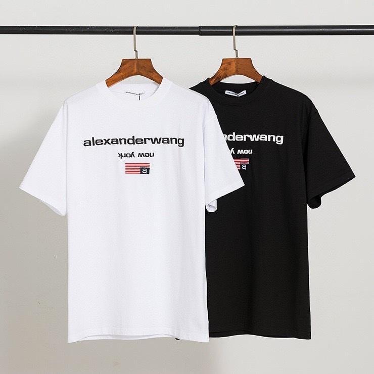 Рубашка с коротким рукавом AW King Foam Вышитая буква Печать Мужской и женской одинаковой свободной повседневной тренды Футболка