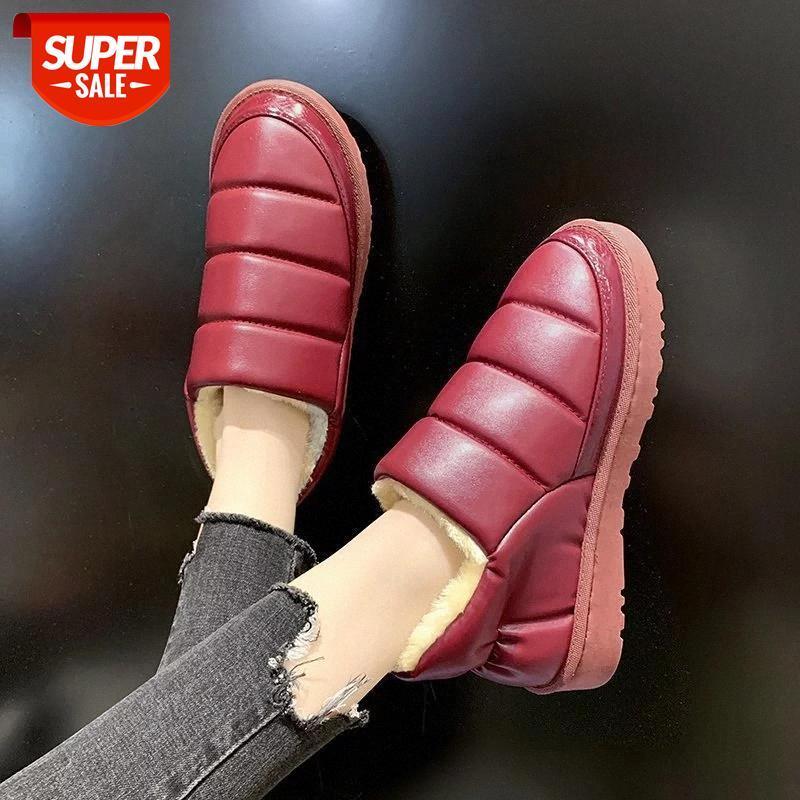 Размер 35-44 Совершенно новые дамы плюшевые ботильоны мода водонепроницаемый зимний теплый меховой мех снежные сапоги женщины 2020 повседневная мягкая обувь женщина # ER5O