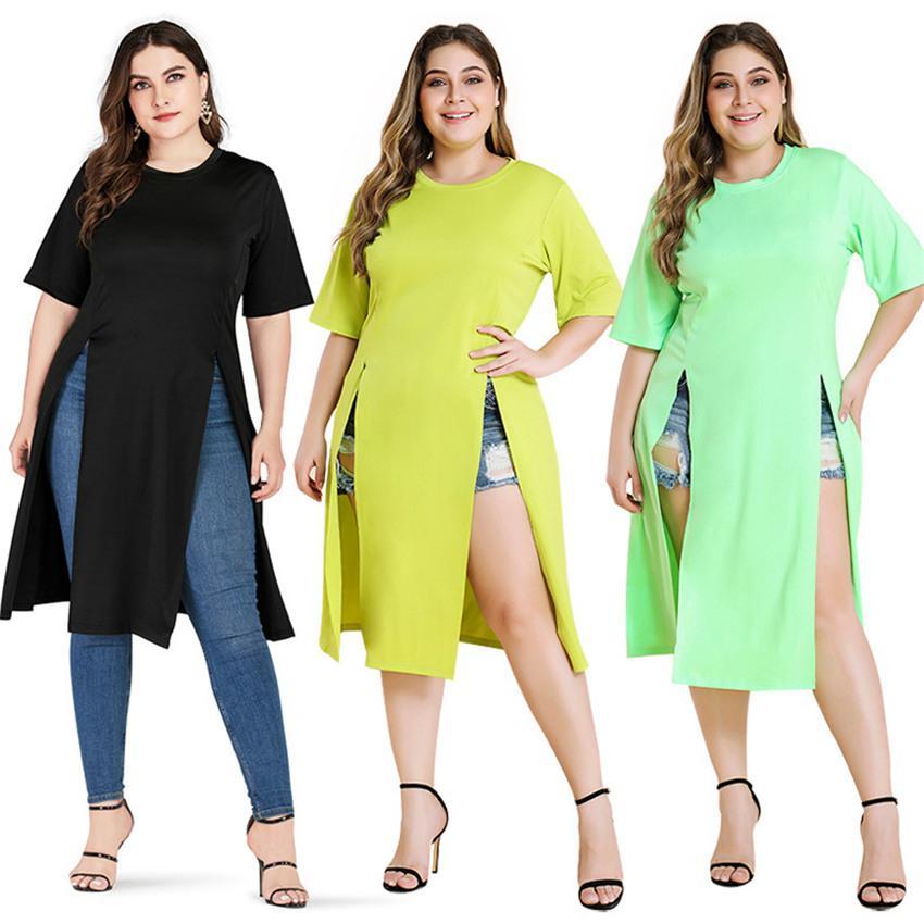 Kazak O Boyun Bayan Elbiseler Artı Boyutu Kısa Kollu Katı Renk Bayan Elbise Rahat Bölünmüş Kadın Giyim