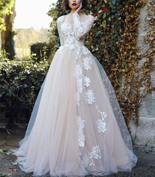 Champagne Lining White Lace Vintage Wedding Dresses Long Sleeve Square Neck A Line Retro Bridal Gowns 2021 Custom Plus Size
