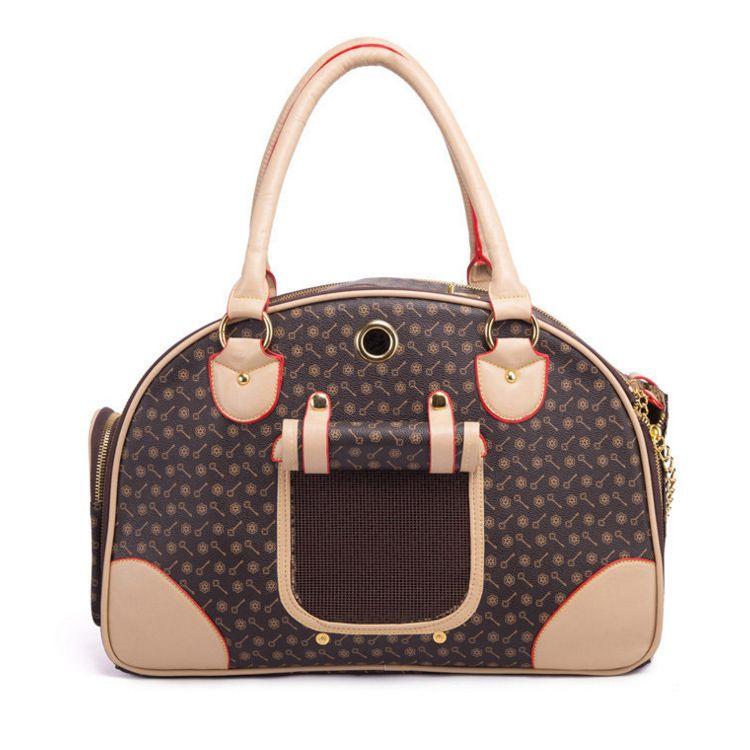 الاختيار الفاخرة الأزياء الكلب الناقل بو الجلود جرو حقيبة محفظة القط حمل حقيبة الحيوانات الأليفة valise السفر المشي التسوق البني كبير