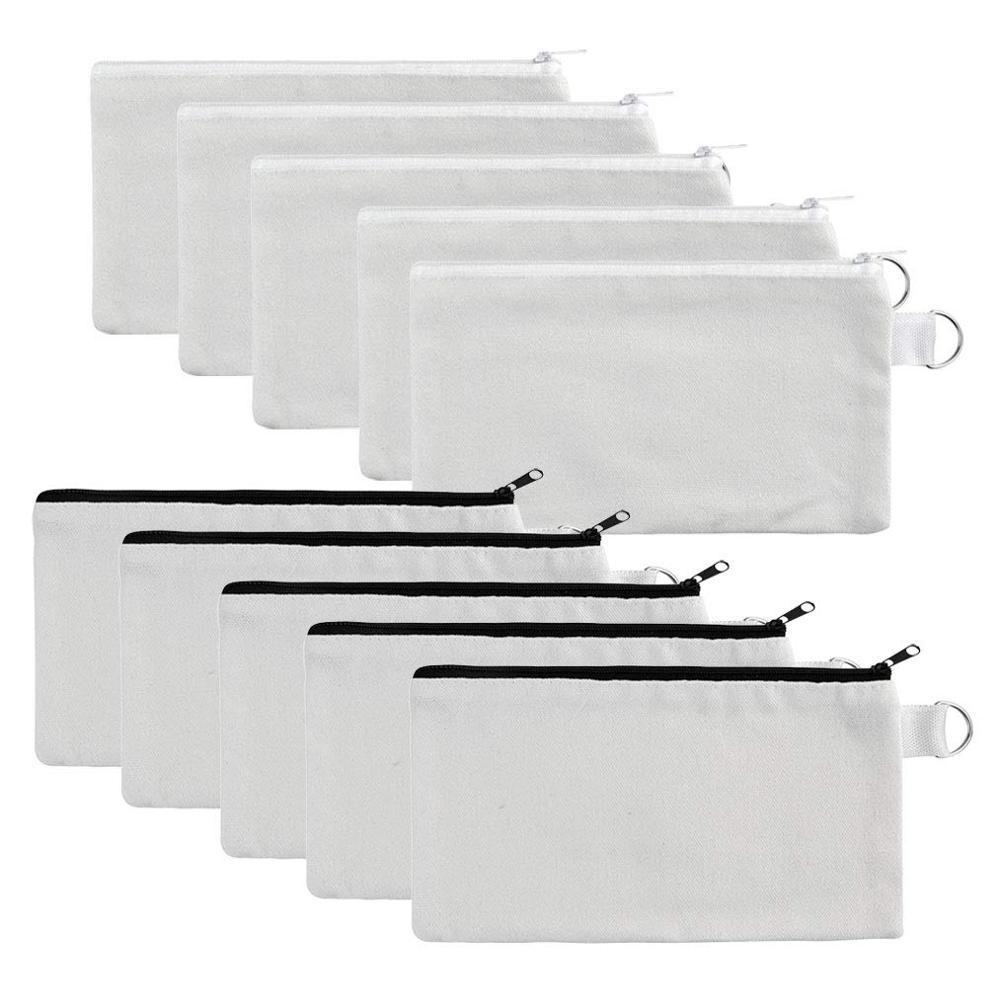 Heiße neue Mehrzweckkosmetiktasche mit Reißverschluss - 6-Pack-Plain-DIY-Natur-Make-up-Beutel, Baumwoll-Leinwand Reise-Toilettenartikel,