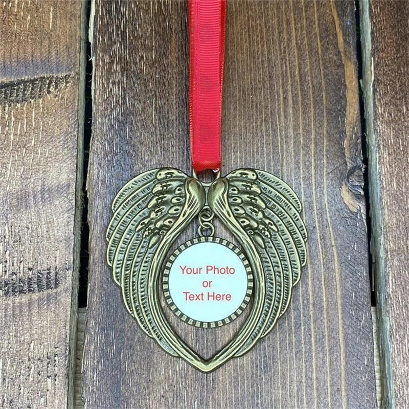 الفراغات التسامي زخرفة زخرفة عيد الميلاد أجنحة الملاك شكل فارغة أضف صورتك الخاصة والخلفية YJL44 120 S2
