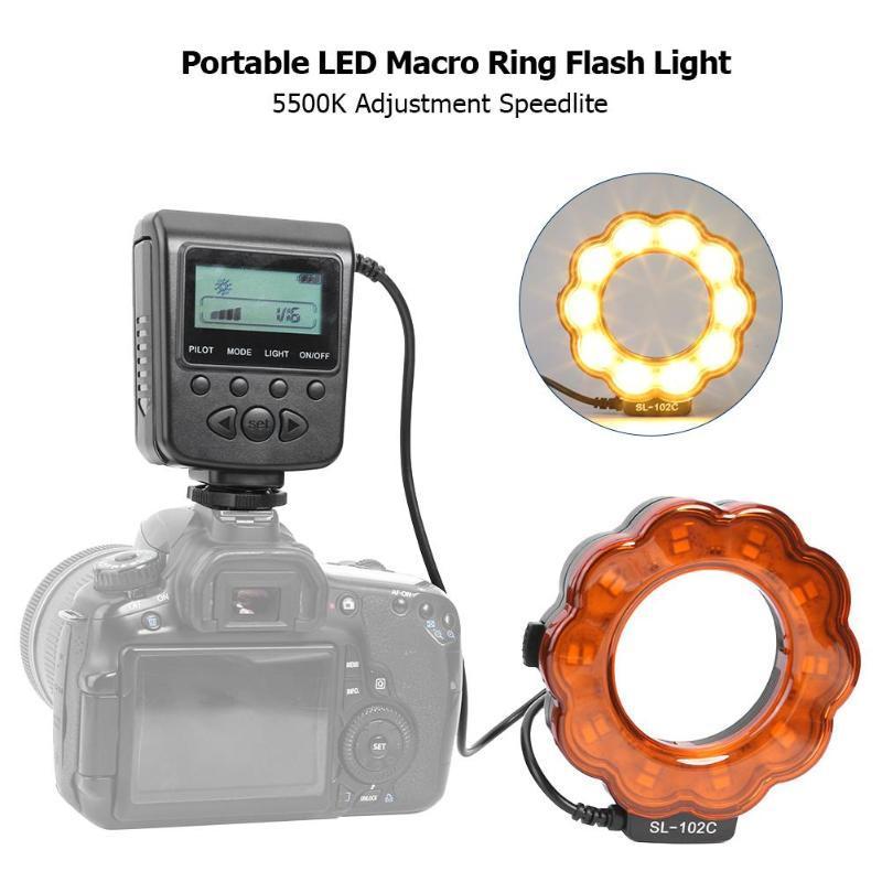 Светодиодный макрос кольцо Speedlite Flash Light 5500K Регулировка Спыта для камеры DSLR, применимая к научным исследованиям