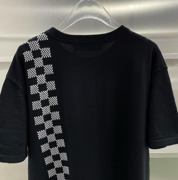 2021SS 체크 베드 패턴 뜨개질 자카드 남성 여성 커플 티 통기성 여름 반팔 Casaul Street T 셔츠 코튼 티셔츠