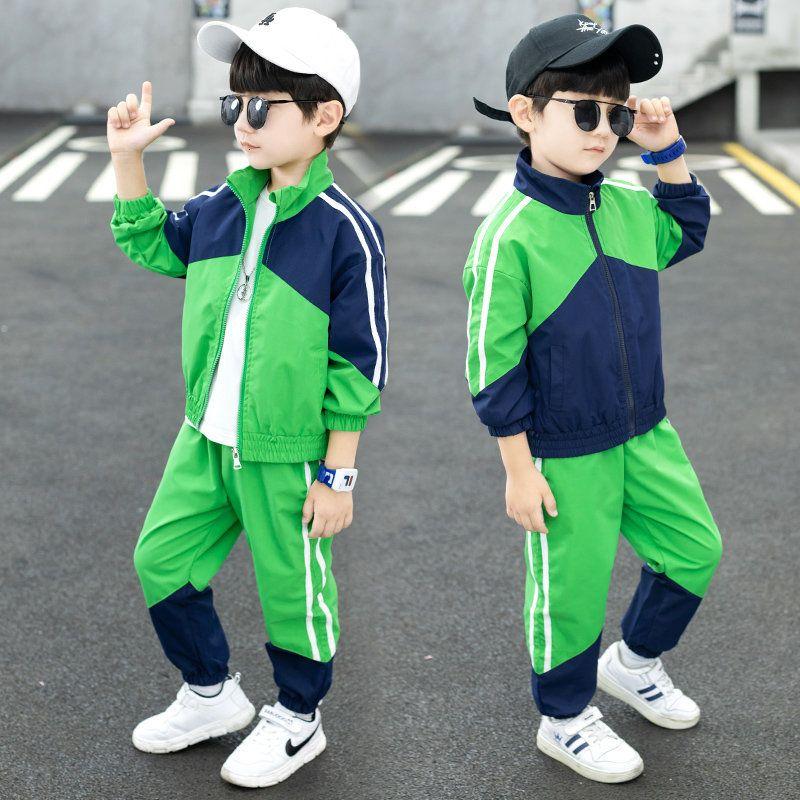 2021 Новый корейский стиль детей спортивная одежда школа весенний мальчик осенний лоскутный Jaquette + детская спортивная одежда для ребенка полки