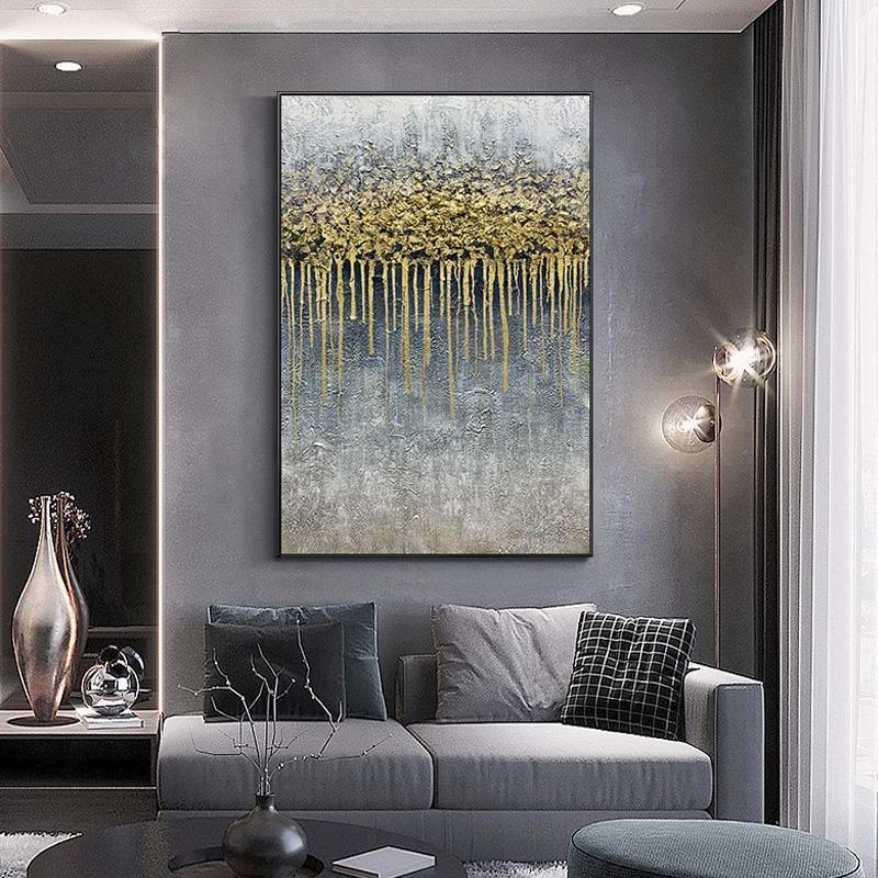 Pura mano dibujo pintura al óleo americano abstracto oro papel decorativo pintura decorativa fantasía vertical colgante imagen luz lujo grueso textura m