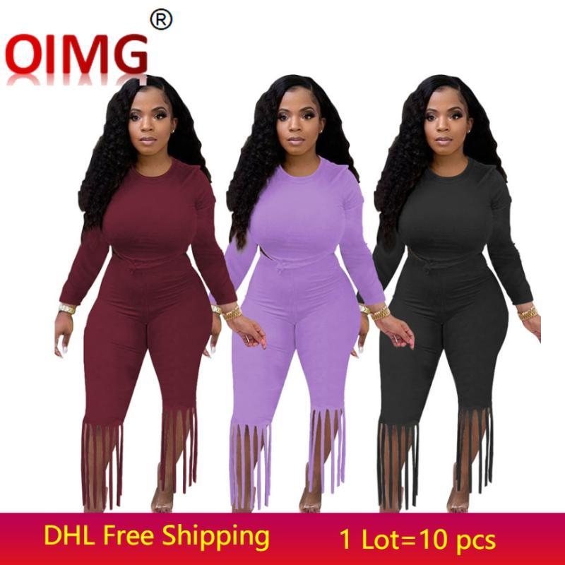 Women's Two Piece Pants Women Outfits Fall Winter Set Solid Tracksuits Long Sleeve Sweatshirt Hoodie+tassels 2pcs Sports Suits 5601