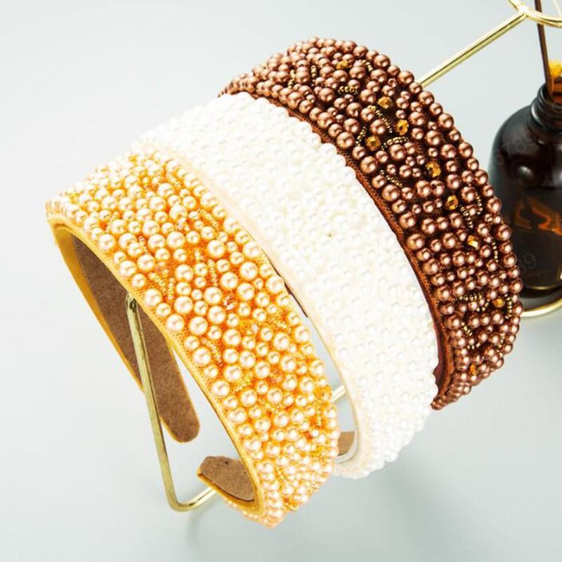 أزياء المرأة عقال تقليد اللؤلؤ هيرباند واسعة الجانب أغطية الرأس خمر اكسسوارات للشعر عارضة
