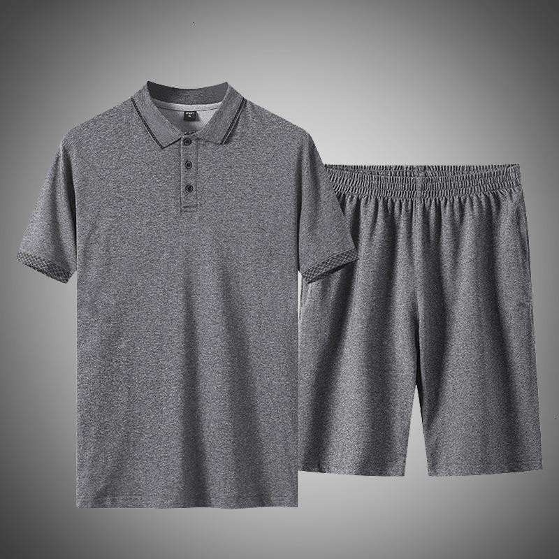 2021 Neue Plus Größe 5XL Casual Männer Poloshirt Zwei Stücke Set Sommer Herren Trainingsanzug Baumwolle Sportswear T-shirt + Shorts Track Anzug Aptb