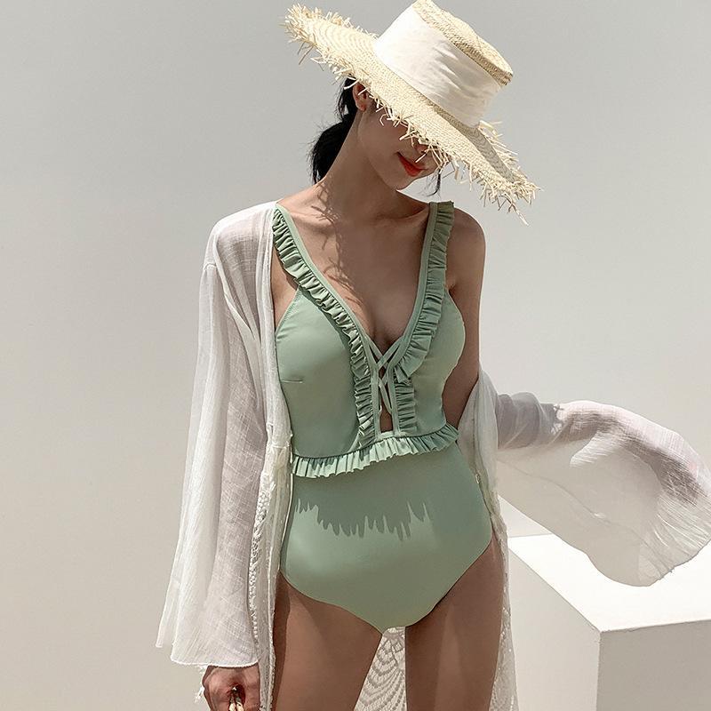 Coreia do Sul Ins Novo Peça Sexy Swimsuit Uma peça Abra Back Ruffle Bikini