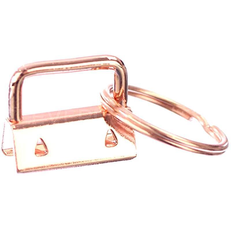 50pcs Key 25mm Fobs Hardware con llaves clave llavero para pulseras Lanyard Clips Metal Cinta Fin Cap Keyfobs