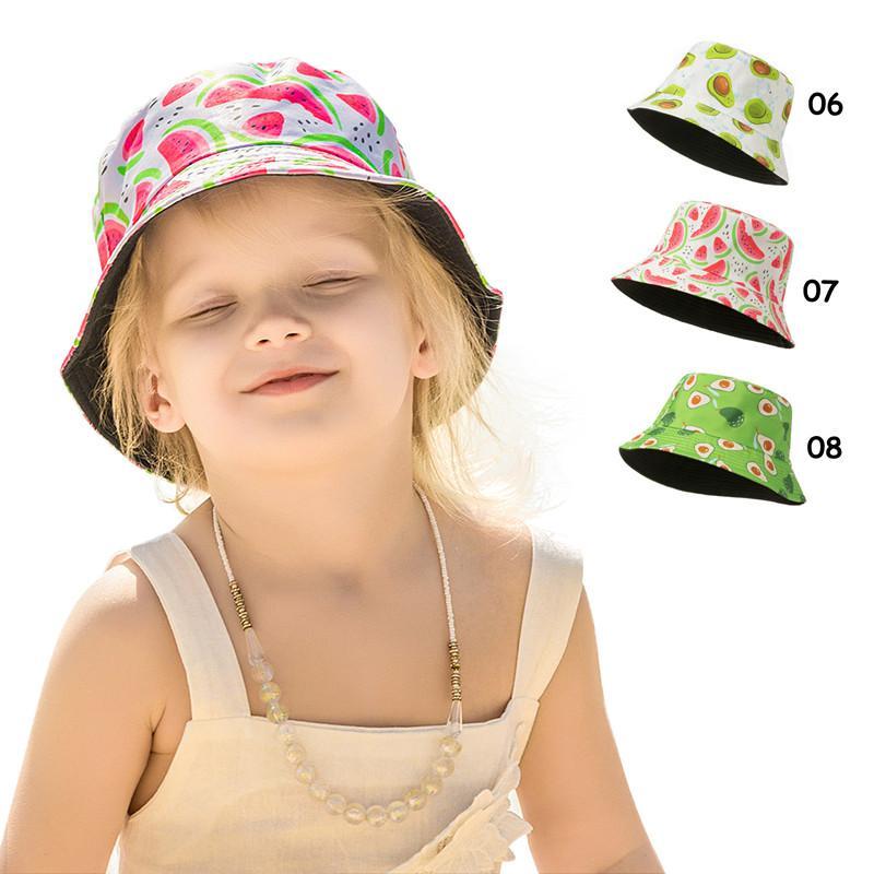 INS Baby Sun Chapeaux Chapeaux Casque Fleur Fleur Fruit Fruit Sunhat Child Fashion Fashion Léopard Toppee Belle Teinture d'été Dye Beach Beaket Hat