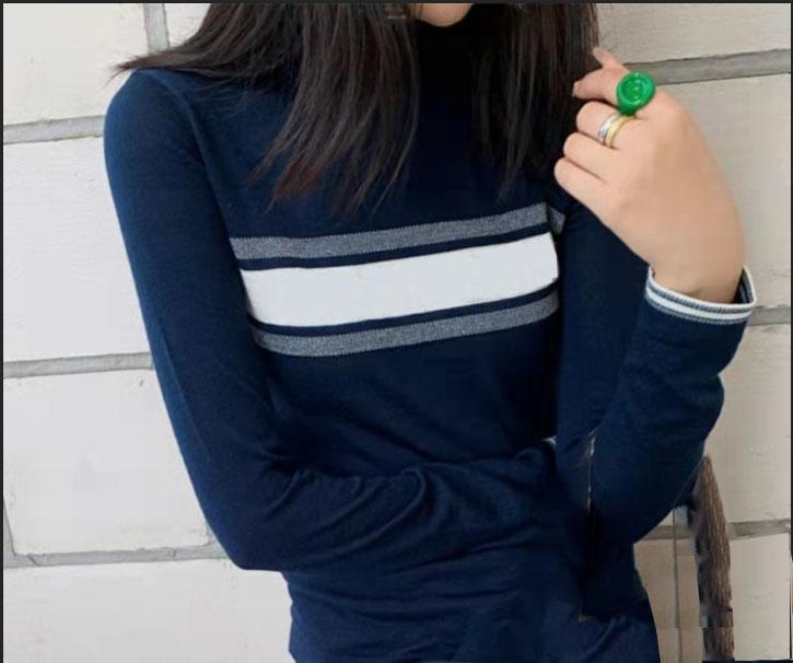 Женские топы свитер шерстяные вязаные тройники высокие шеи регулируются с письмом полосатые шеи леди тонкие свитеры с длинным рукавом рубашка весна осенний стиль размер S-L