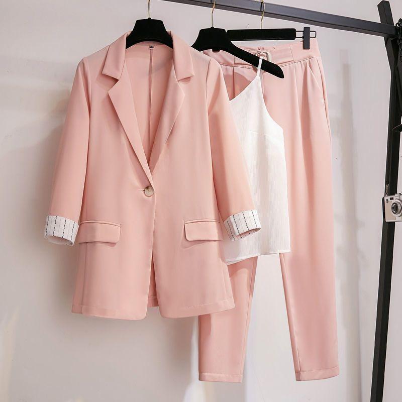 Kadınlar için takımlar için Bahar Sonbahar Bayan Blazer Ceket + Uzun Pantolon Kadın Giyim Zarif Bayanlar Ceket Artı Boyutu E9ZX