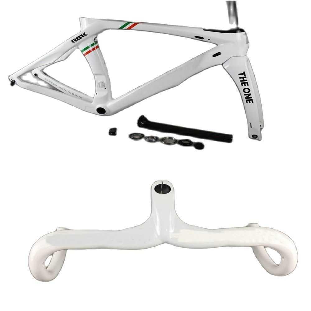 T1000 화이트 챔피언 RB1K 하나의 도로 자전거 탄소 프레임 및 탄소 도로 핸들 바 광택