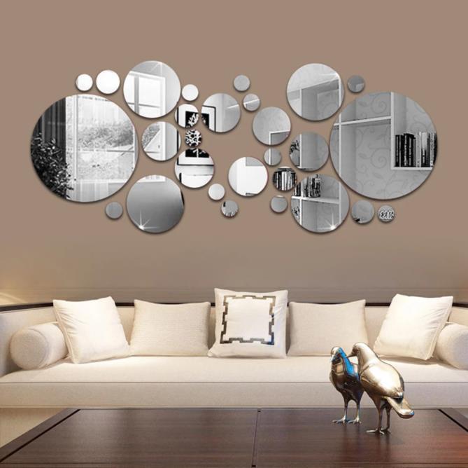 26 قطع 3d مرآة الجدار ملصق جولة مرآة diy التلفزيون خلفية الحمام ملصقات الحائط ديكور غرفة نوم الحمام الديكور المنزل مرآة