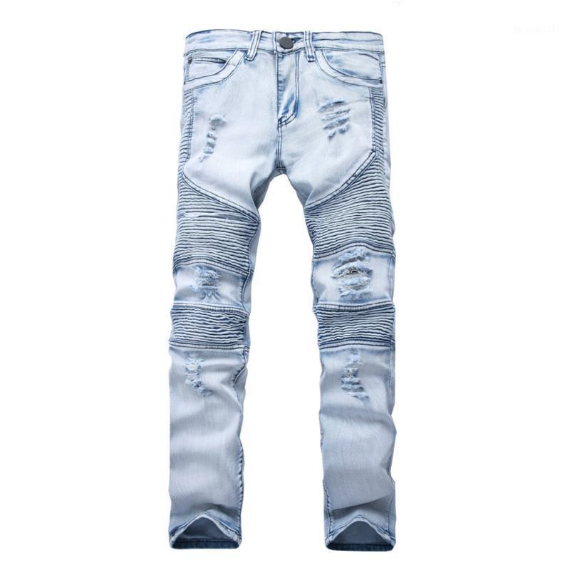 Les hommes déchirés Les jeans représentent des pantalons de vêtements SLP Bleu / Noir Détruit Mens Denim Slim Denim Droite Droite Droite Jupiste Jeans Skinny