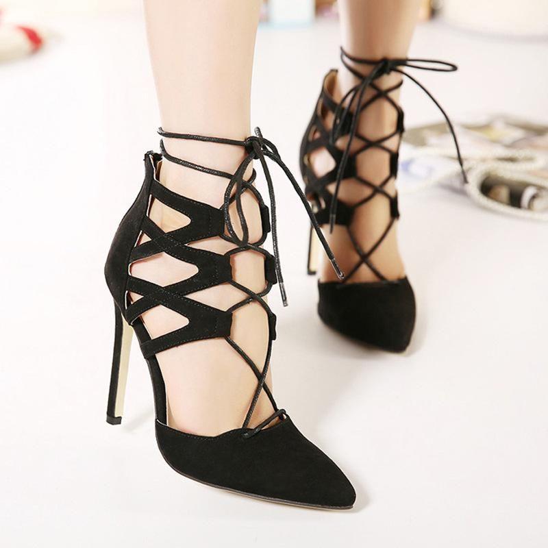 Kleid Schuhe Damen Frauen Sandsals de Verano Mujer High Heels Flock Schnüre Sommer Party Sandasls Solid Sandlia Feminina