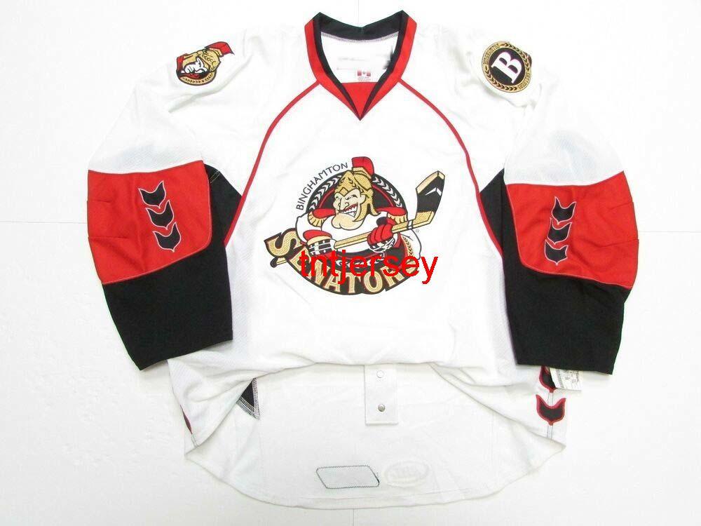 Dikişli Özel Binghamton Senatörleri AHL Beyaz Jersey Herhangi bir isim ekleyin Erkek Çocuklar Jersey XS-5XL