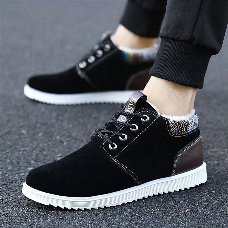 2019 Botas de nieve de invierno Hombres Cálidos Casuales Casuales Zapatos de cuero genuinos Hombres Cómodo plano Lace Up Zapatos Hombre Senderismo Botas Grandes Tamaño V19 G2KD #
