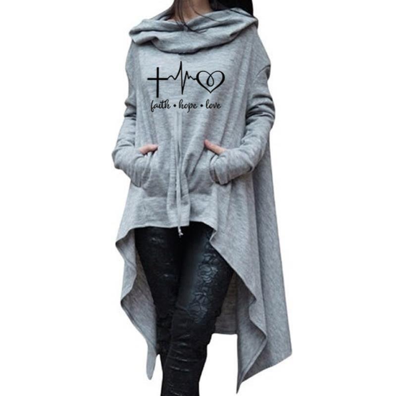 Sudaderas con capucha para mujer Sudaderas Mujeres Larga Fe Fe Hope Love Letters Print Kawaii Jóvenes Poja Harajuku Algodón Cómodo