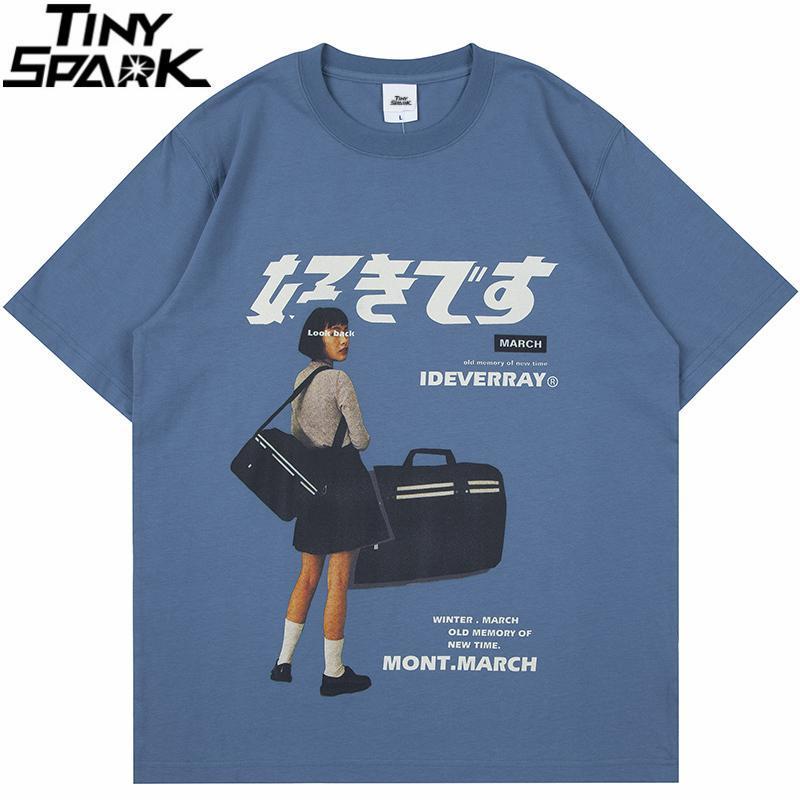 Hip Hop Streetwear Harajuku T-shirt Mädchen Japanisches Kanji-Druck T-Shirt 2021 Männer Sommer Kurzarm T-Shirt Baumwolle lose Tops T-Shirts