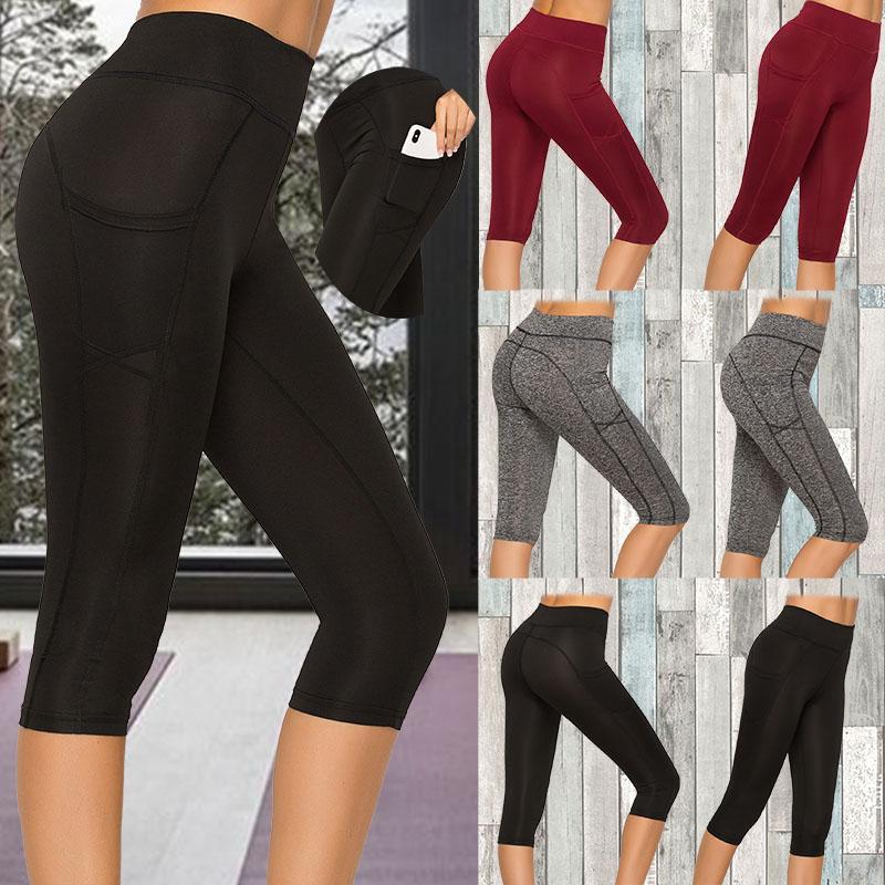 Mulheres colheita leggings com bolso feminino esporte exercício de fitness alta cintura curto leggings sólido slim push up calça feminina calça