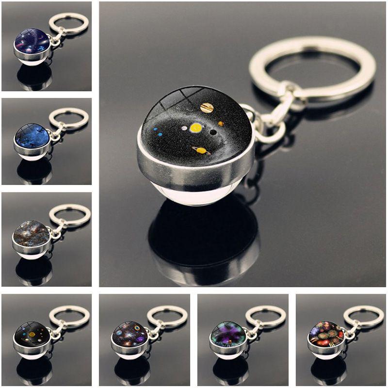 Двойной стеклянный шар Вселенная звезда брелок Solar Moon Keyring Key держатели сумка висит мода ювелирных изделий подарок будет и песчаный