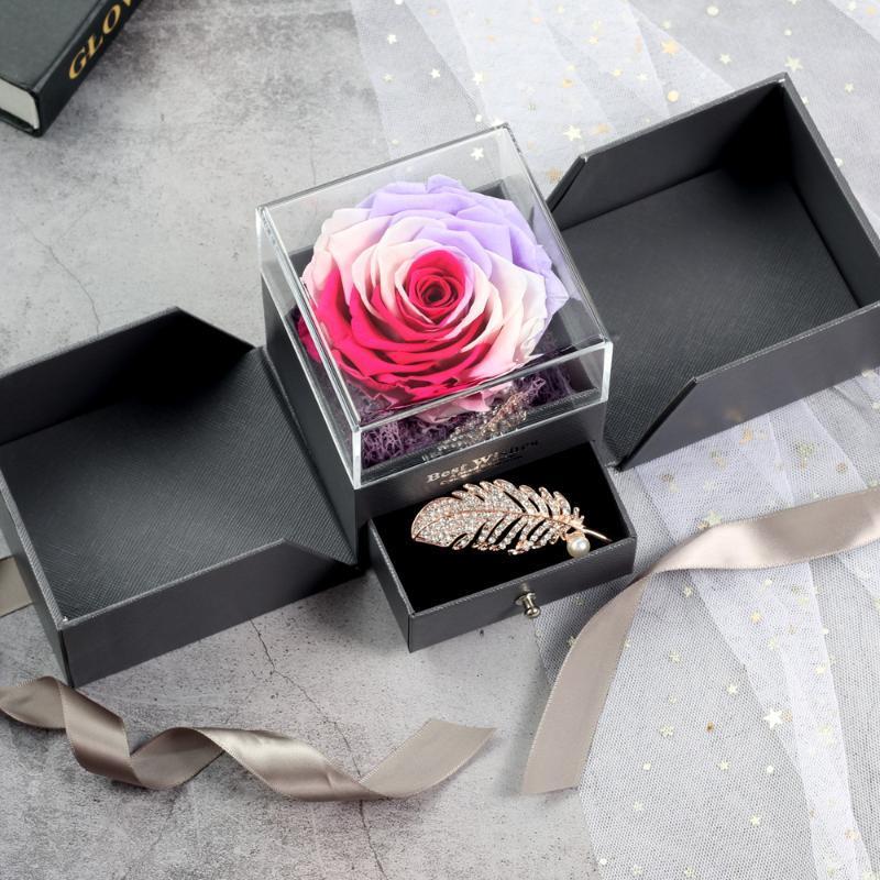 Decorative Flowers & Wreaths Wedding Decoration Gift Ring Jewelry Storage Box Fresh Everlasting Rose Real Flower For Lady Birthday Christmas