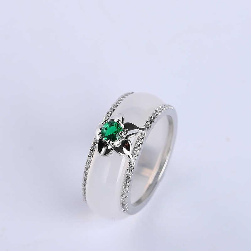 Koraba Women's 925 Sterling Silver Natural White Jade Band Ring for Women Jewelry Wedding Bands Classic Y0723