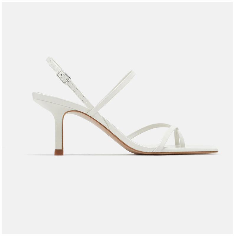 Europäische amerikanische mode sexy weibliche sandalen feine ferse fee weiße wort schnalle richtung high heels96