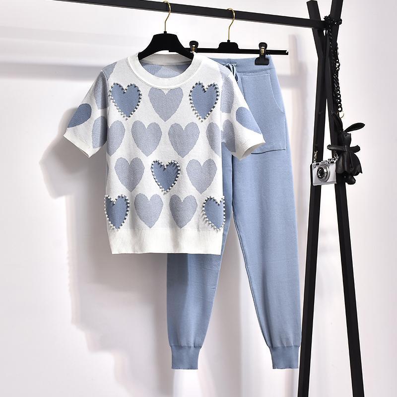 봄 구슬 사랑 인쇄 2 조각 세트 여성 짧은 소매 니트 스웨터 여성 탑 + 바지 정장 여름 tracksuits 의류