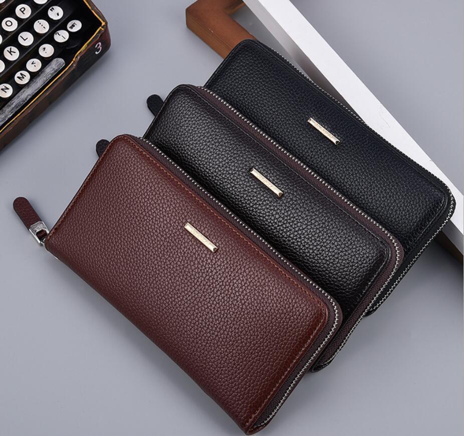 HBP-Großhandel 2 Farben Mode Einzelne Reißverschluss Designer Männer Frauen Leder Brieftasche Dame Damen Lange Geldbeutel mit Karte