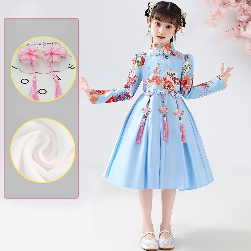 Ropa étnica Cheongsam Satin Vestido formal para niñas estilo chino boda princesa niños vestidos de fiesta fiesta fiesta año año