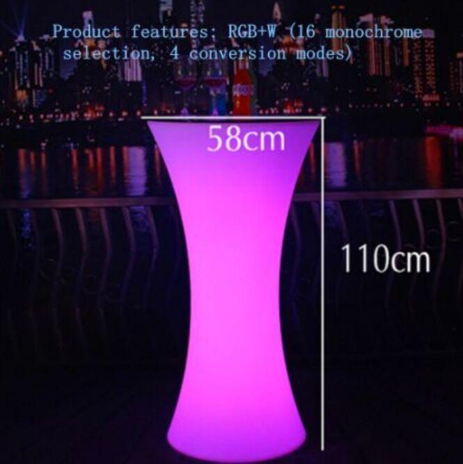 NEW Rechargeable LED Illuminated cocktail table Lighted up Bar Table plastic coffee table Indoor Or Outdoor use