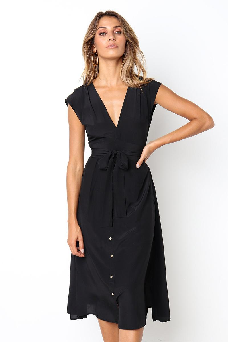 2021 Sommer Neue Sexy Backless Schwarze Frauen Robe Femme Vintage Elegante lange Sonne E IUQ8
