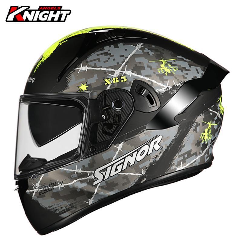 2021 New Biker Motorbike Moto Helmet Double Lens Crash Lining Breathable Casco Moto Motocross Full Face Helmet Racing