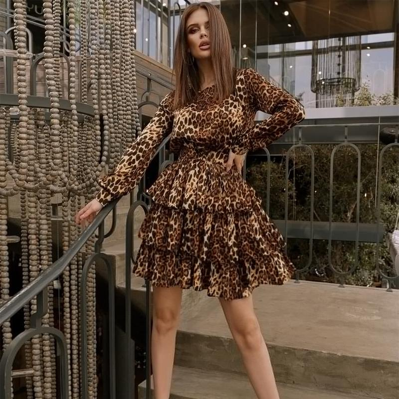 Neue Vintage Leoparde gedruckt Rührled A-line langle Sleee O Neck Elegant Casual Mini 2021 Frühlingsmode Frauen YSEH