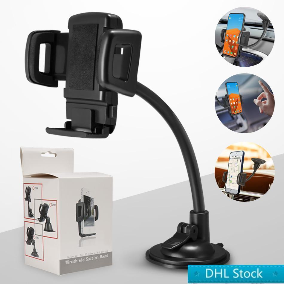 Magazzino DHL Regolabile Auto Mount Phone Phone Dash Pabero di parabrezza Supporto per cellulare per Samsung Moto Huawei Smart Cellphones con scatola