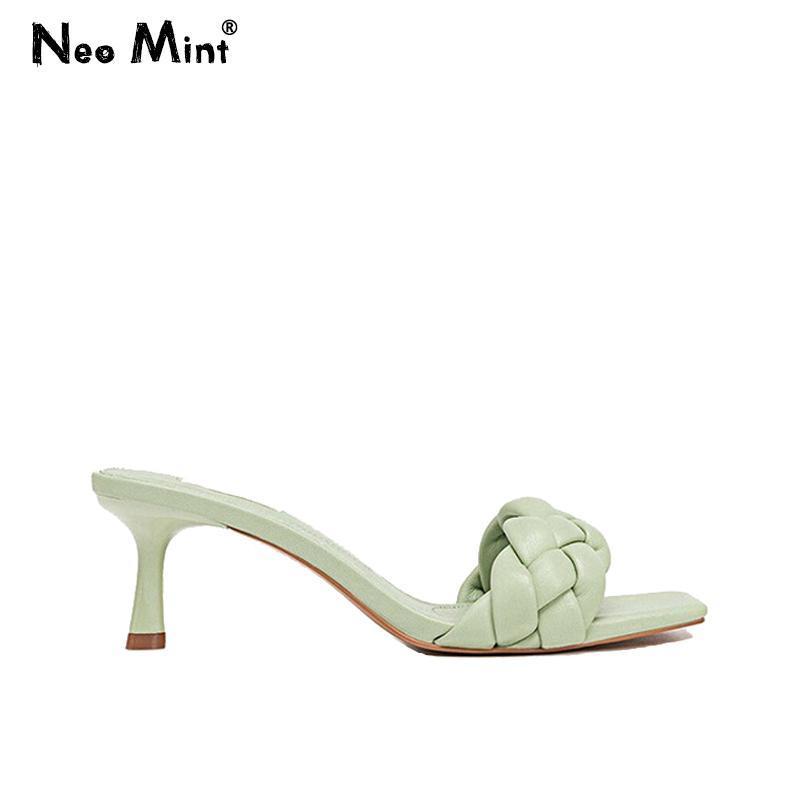 Designer 2021 Muli Tacchi alti Scarpe Donna Tessuto Pantofole in pelle INS Donne Square Square Toe Sandali Donne Mules Femme