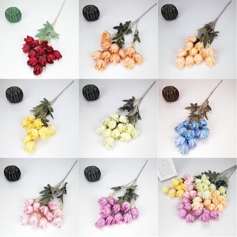 Flores artificiais tecido de seda festa de casamento casa diy decoração floral de alta qualidade grande buquê bouquet artesanato flor falsa gga4232
